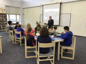 Captain Shipley talking to students