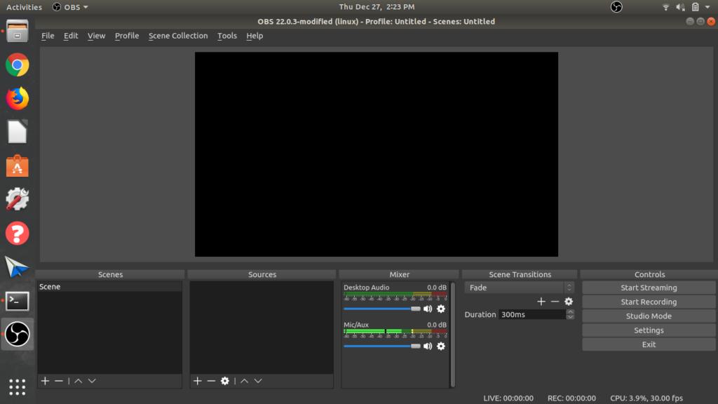 Empty OBS screen