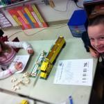 Meghan and Noah tally their blocks