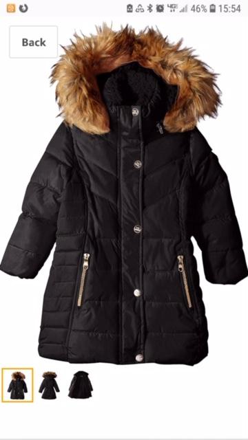 Black coat with brown fur-trimmed hood