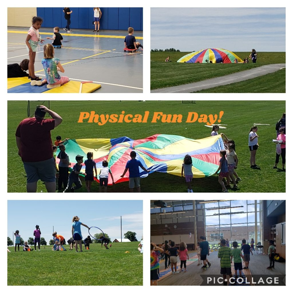 Students participating in activities for Physical Fun Day.