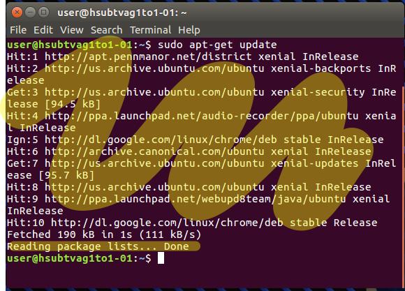 Terminal command running.