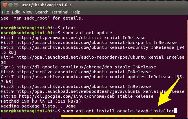 Install Java command