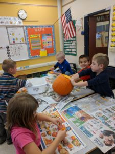 Students working on pumpkins!
