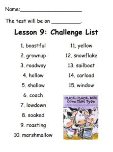 Challenge Spelling List: boastful, grownup, roadway, hollow, shallow, coach, lowdown, soaked, roasting, marshmallow, yellow, snowflake, sailboat, carload, window