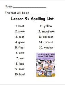 Spelling List: boat, snow, coat, grown, float, own, low, load, soak, bowl, yellow, snowflake, sailboat, carload, window