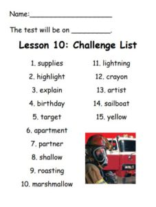 Challenge Spelling List for Lesson 10: supplies, highlight, explain, birthday, target, apartment, partner, shallow, roasting, lightning, crayon, artist, sailboat, yellow