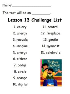 Challenge list for Spelling test on December 15th, 2017
