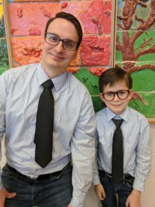 Twin day for Dr. Seuss.  Teacher and student dressed as twins.