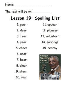 Lesson 19 Spelling List