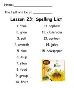 Lesson 23 spelling list