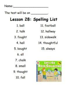 Lesson 28 Spelling