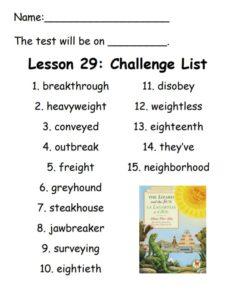 Challenge List Lesson 29
