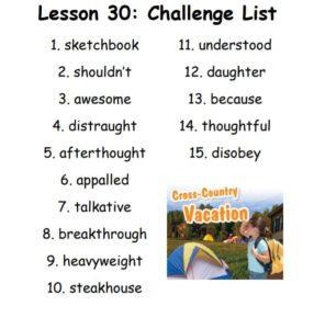 Challenge List Lesson 30