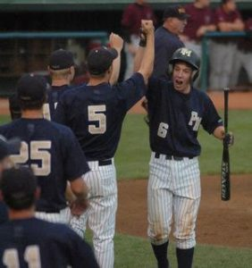 Andy Drexel celebrates after scoring Penn Manor's first run in the second-inning of the state championship game.