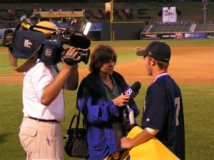 Left fielder Ryan Eshleman is interviewed by WGAL reporter Barbara Barr after the victory over State College High School.