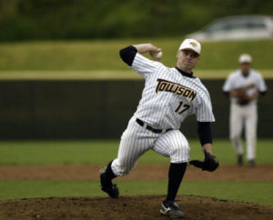 """Despite starting only three games in his PM Career and not having enough innings to qualify for many records, Josh Squatrito (pictured playing for Towson University) was one of the most dominant pitchers in PM history. A workhorse out of the bullpen who relished late-game pressure, """"Squat"""" was asked to start two games in the 2005 State Tournament, winning both and helping the Comets to the State Title."""