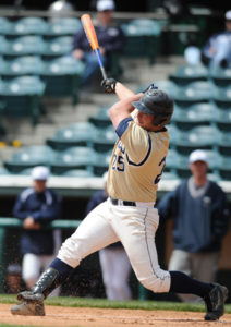 Dan Kauffman's (pictured playing for Juniata College) ability to hit for both average and power made him one of Penn Manor's all-time best hitters.