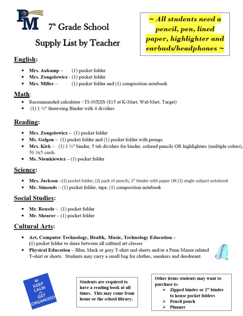 grade 7 supply