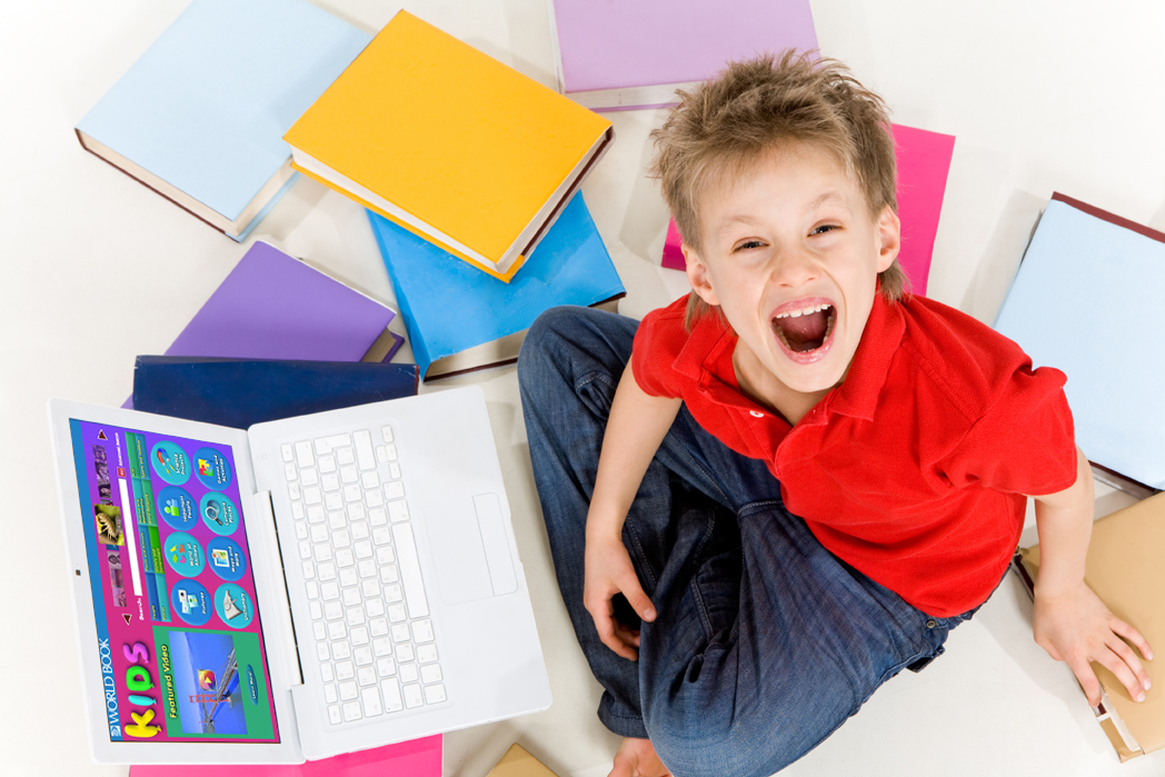 Excited boy with laptop and books